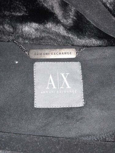 Armani Fur Exchange Hood Faux Jacket W small Coat black rdrnvqwE