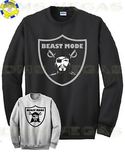 check out 36214 2b162 Details about Oakland Raiders Marshawn Lynch Beast Mode Sweatshirt Jersey  Logo Men Size S-XL