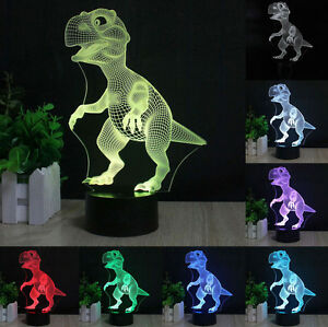 USA New Dinosaur 3D LED Night Light 7 Change Color Touch Switch Table Desk Lamp