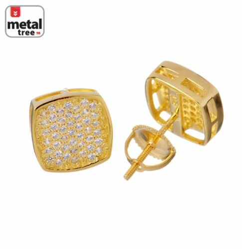Men/'s Fashion Hip Hop Iced Out 10 mm Flat Square Block Screw Back Stud Earrings