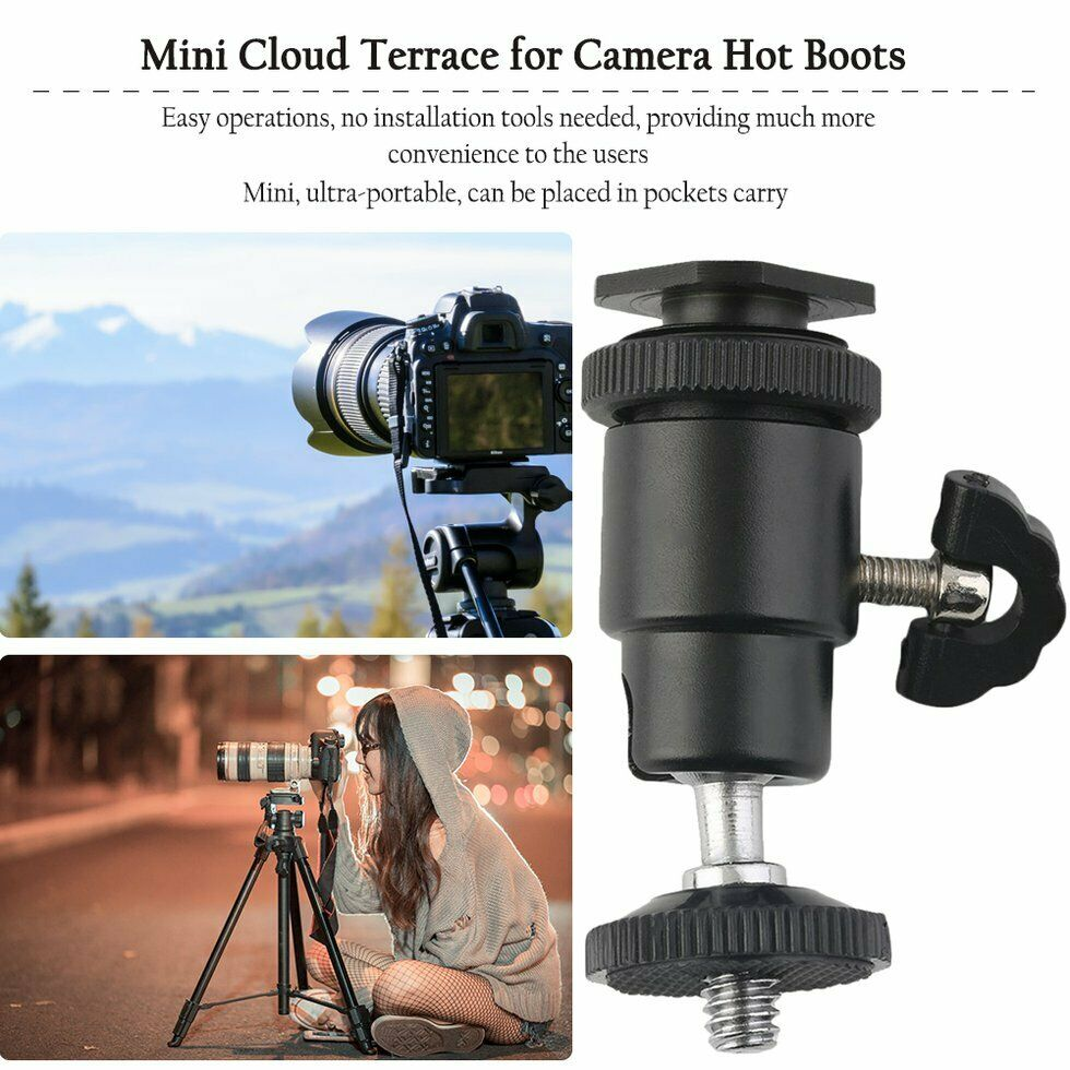 Camera Tripod Easy to Install Camera Accessories Flash Hot Shoe Swivel Ball Head 1//4 inch Tripod Screw Magic Arm with Lock