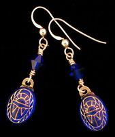 Scarab Earrings Sapphire Blue With Gold Engravings Scarab Drop Dangle Earrings