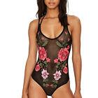 Women Black Plunge Neck Floral Sheer Mesh Bodysuit Leotard Lingerie Romper Top