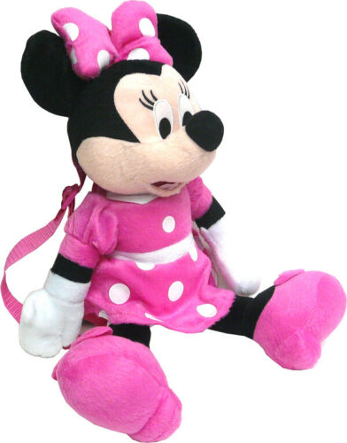 """Disney Minnie Mouse 16/"""" Plush Backpack Pink Dress Doll Figure Stuffed Toy Pink"""