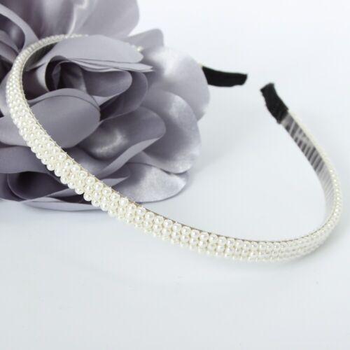 Designer Haarreif mit Perlen Haarschmuck Kommunion Weiß
