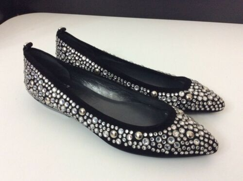 New 4 Stuart Bnwob Uk Flats 37 Ballerina Leather Stones Black Shoes Weitzman g5rqT5xp