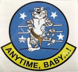 "Grumman F-14 Tomcat Peel & Stick Vinyl Decal ""Anytime Baby"" Top Gun  DEC-0134"
