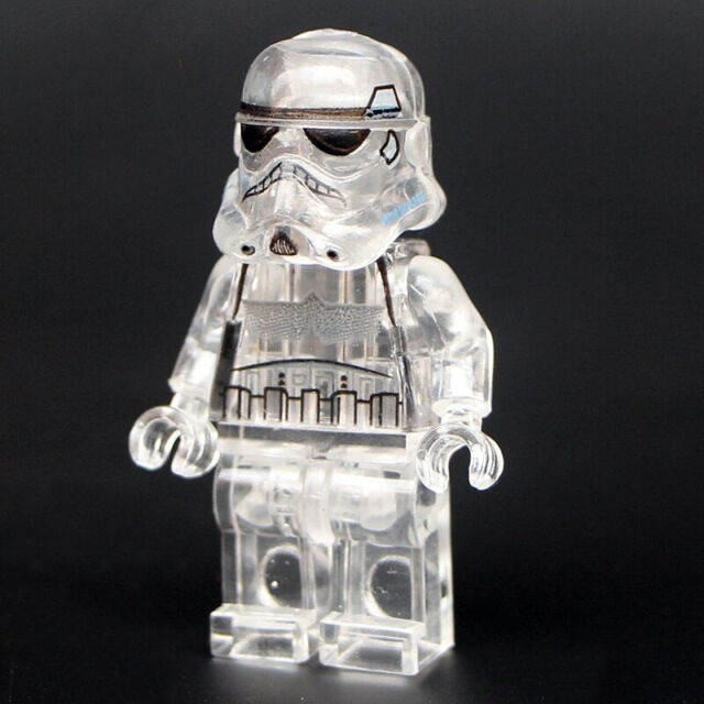 Star Wars Stormtrooper Lego DYI Minifigure, Brand New Sealed Transparent Figure