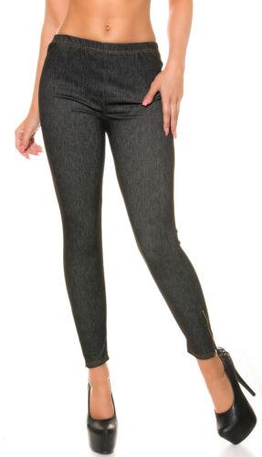 Leggings Donna Legging Jeggings Treggings Look Jeans con zip S 34 36 Pantaloni strettamente