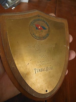 """1966 South West Yacht Club Swyc Race Committee Boat """"tumblehome"""" Sailboat Plaque"""
