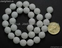 Natural White Alabaster Gemstone Faceted Round Beads 4mm 6mm 8mm 10mm 12mm 16''