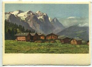 VINTAGE WETTERHORN EIGER SWISS ALPS HOUSES LITHOGRAPH SWITZERLAND COLOR PRINT A