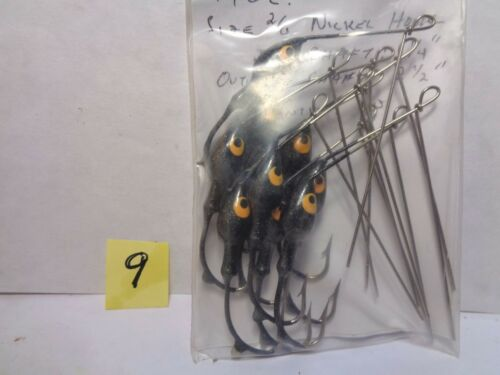 Size 2//0 Hook New Other 1//4 Oz 10 Cnt Black w//Yellow Eyes Spinnerbait Head