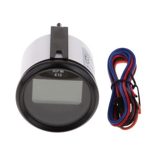 52mm Boat Marine Car Digital Tachometer Tacho Gauge Waterproof Black Face