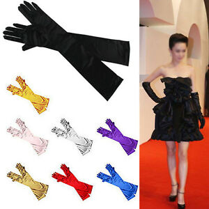 LADIES-SATIN-PARTY-DRESS-PROM-EVENING-WEDDING-BRISAL-LONG-FINGER-GLOVES