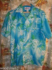 Nani-of-Hawaii-vintage-Aloha-Shirt-Blue-Flowers-Size-small-Hawaiian-Pocket