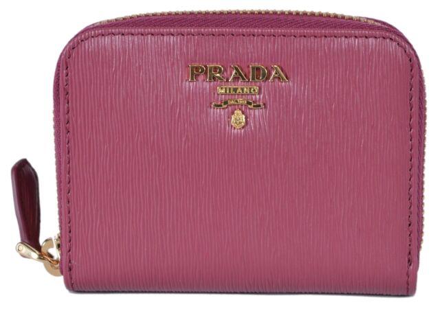 fbb85001fb8 PRADA Womens Ibisco Pink Vitello Move Leather Gold Zip Coin Purse Wallet  1MM268