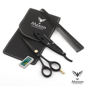 MAXON-5er-Profi-Rasiermesser-Set-mit-Haarschere-Schere-kamm-amp-Klingen