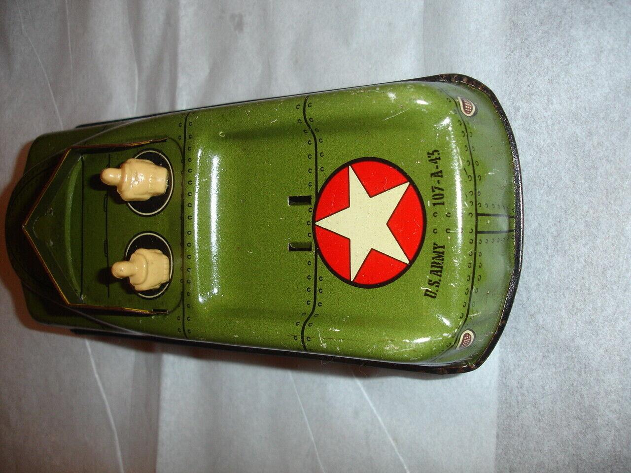 TX ESTATE VTG Courtland 40s 50s Tin Litho US Army Vehicle Friction Toy Car 7