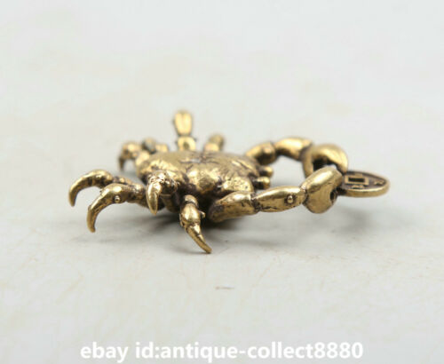 """1.9/"""" Curio Chinese Bronze Animal Crab Pangxie Wealth Money Coin Small Statue招财进宝"""