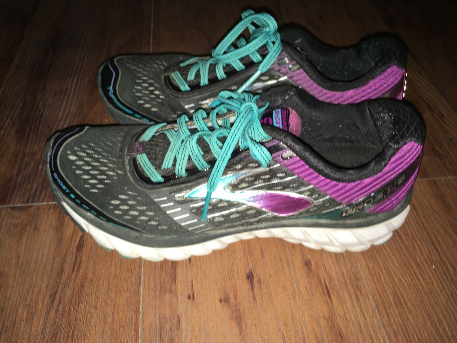 Brooks Ghost 9 Running Shoes Black/Purple/Teal Women's US Size 7.5