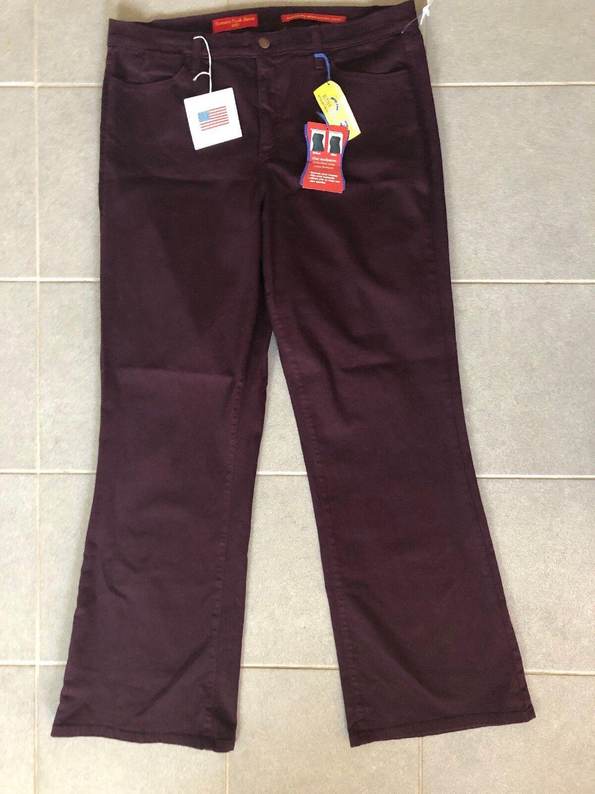 New Womens NYDJ Wine colord Denim Jeans Sz 16w Inseam 32.
