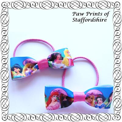 Design #5 Blue /& Pink Clips Or Bobbles Disney Princess Hair Bows - U Choose