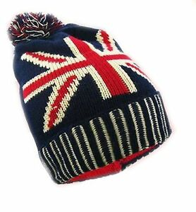 4f5b5f76390 Image is loading Unisex-Adults-Union-Jack-Design-Bobble-Winter-Woolly-