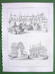 ARCHITECTURE-PRINT-FRANCE-Castles-at-Langeais-Brissac-and-Azey-le-Rideau