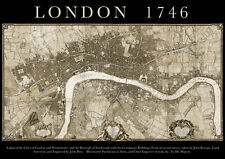 John Rocque 1746 MAP of LONDON A2 Poster, City, Historical/ Political, local uk