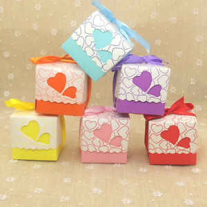 Details About 50x Hollow Heart Candy Boxes With Ribbon Wedding Party Baby Shower Gift Boxes S