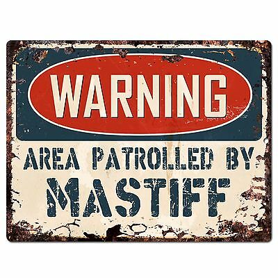 PP2443 WARNING AREA PATROLLED BY MASTIFF Plate Chic Sign Home Store Decor