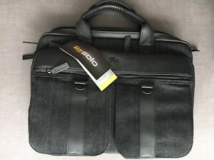 """EXE335-3 Solo Executive Briefcase Padded Compartment for Laptops  15.6/""""  Brown"""