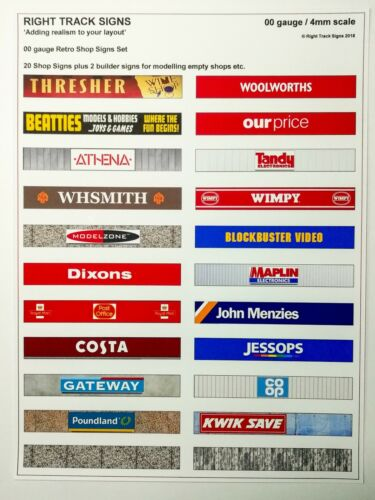 00 gauge 22 Shop Signs Set town scene Model Buildings model railway signs
