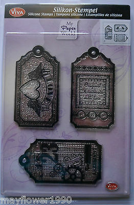 VIVA Decor Clear Silicone Stamp Set STEAMPUNK TAGS handmade love