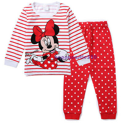 2pcs Kids Baby Girl T-shirt Top+Pants Pajamas Set Sleepwear Outfit Clothing 1-7Y