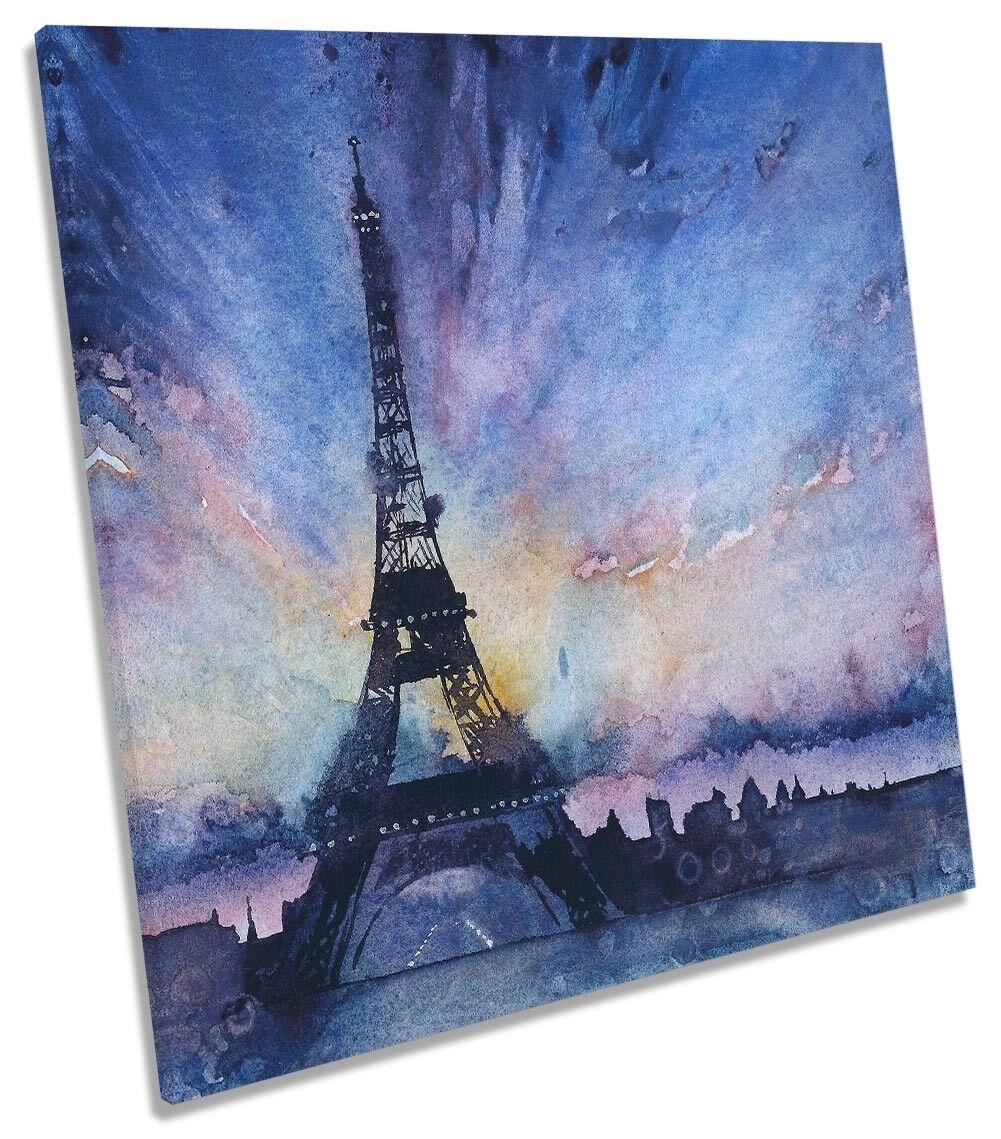 blu Torre Eiffel acquerello A MURO QUADRATO opera d'arte art print