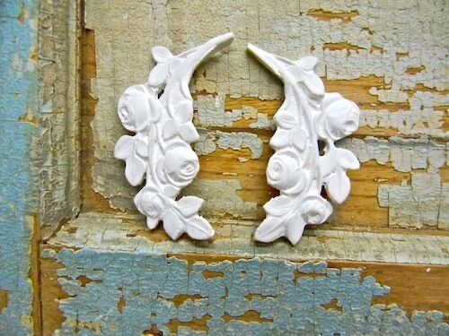 SHABBY n CHIC ROSE LEAVES-FURNITURE APPLIQUES- 2 pc's  & RESIN
