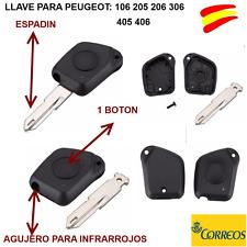 FUNDA  LLAVE MANDO PARA PEUGEOT 105-106-205-206-306-405-406  1 BOTON + ESPADIN
