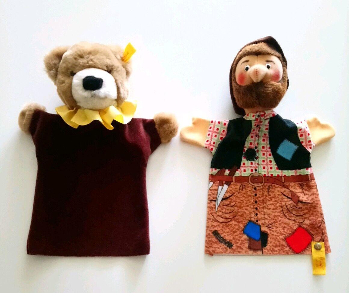 2 X Steiff Mano Marionetas ladrón & Bear Vintage Juguetes Alemania