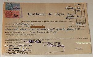 QUITTANCE-de-LOYER-Avril-1949-TIMBRE-Fiscal-de-1-50-et-10-francs-LESCALLIER
