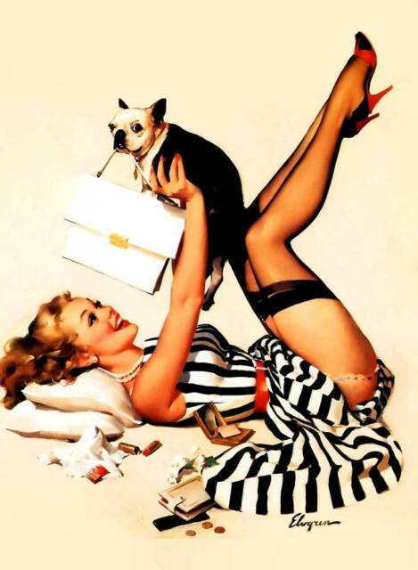 "Vintage GIL ELVGREN Pinup Girl CANVAS ART PRINT Poster Lucky Dog 16""X 12"""