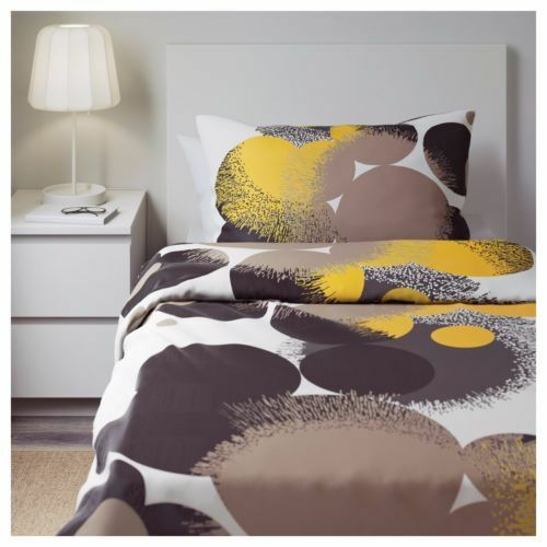 IKEA BOLLTISTEL Twin Duvet Cover and Pillow Set NEW GRAY YELLOW