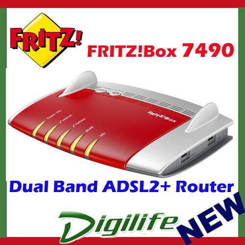 Fritz!Box 7490 Dual Band AC1200 Wireless ADSL2+ VDSL Modem Router AVM7490