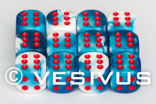 DICE Chessex Gemini ASTRAL BLUE /& WHITE 12d6 d6 Block Set Marble Shiny D/&D 26657