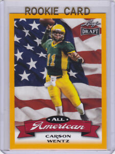 Details About Carson Wentz Rookie Card 2016 Leaf Yellow Version Insert Rc Football Eagles