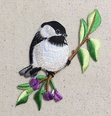 Large Chickadee Facing Right/Purple Flowers - Iron on Applique/Embroidered Patch