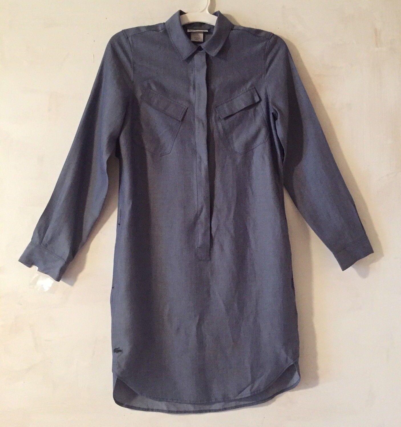 LACOSTE Long Sleeve Half Button Yocell Medium bluee Tunic Dress Size 32 0 NWT