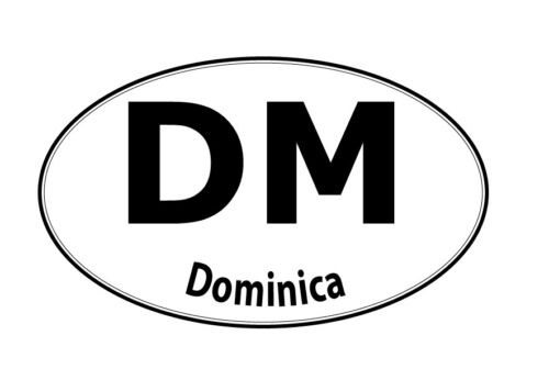 Dominica oval country code decal vinyl sticker choose size