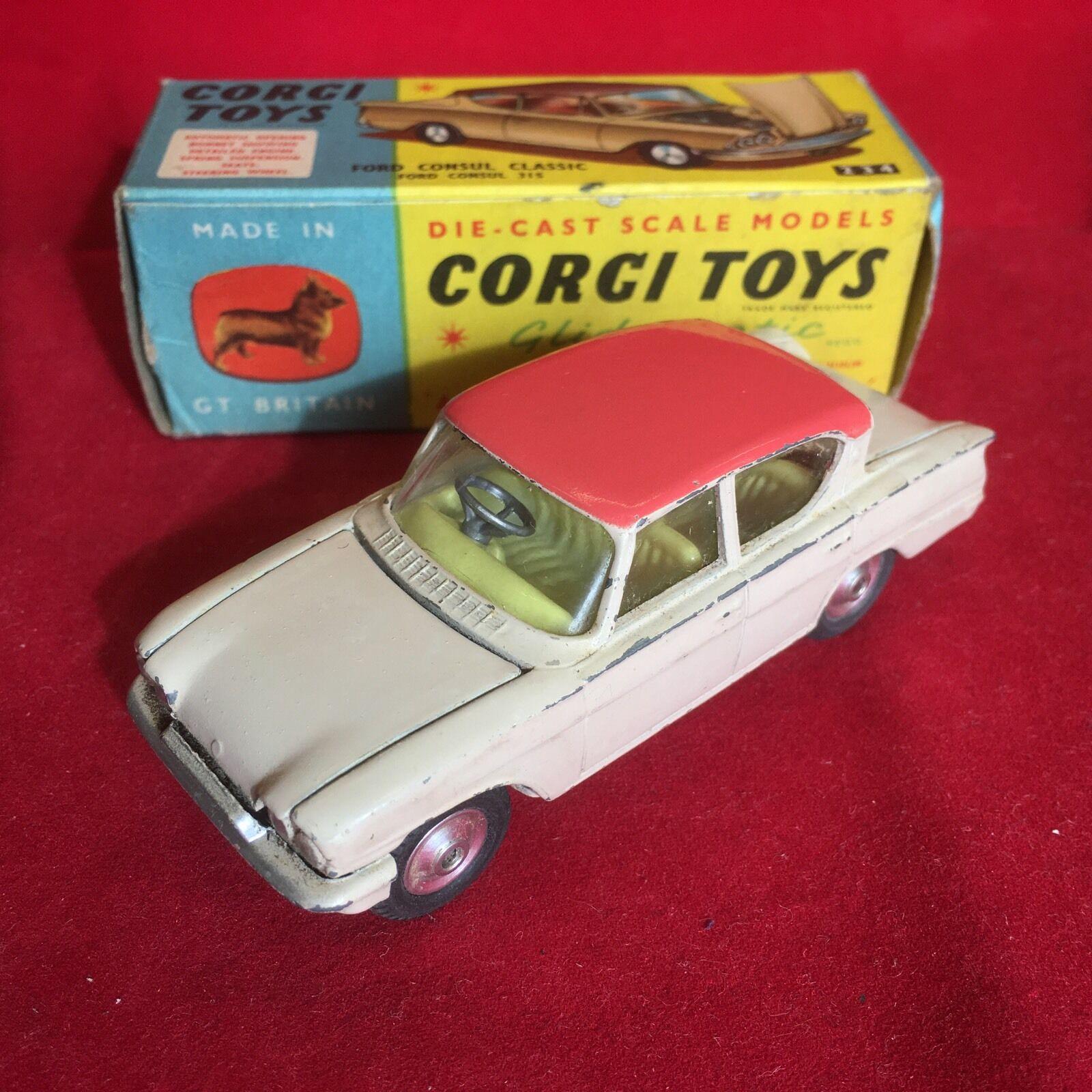 Vintage Corgi Toys  No. 234 Ford Consul Classic Beige Body rose Roof Boxed  jusqu'à 60% de réduction